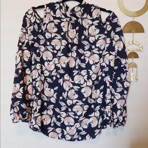Cold Shoulder Long Sleeve Floral Top